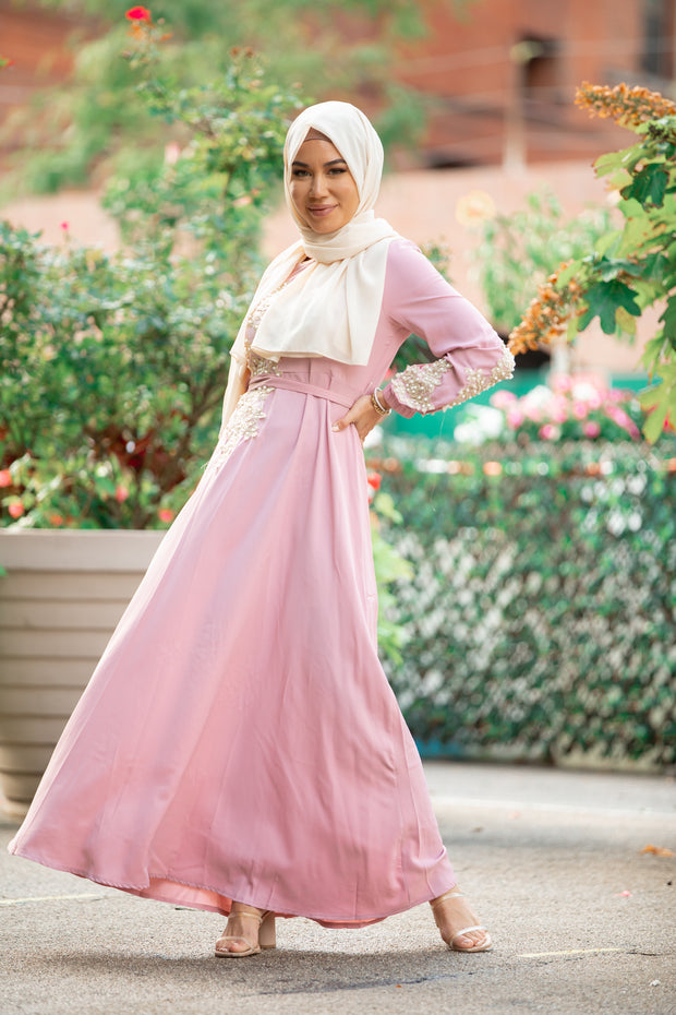 Pretty In Pink Pearl Long Sleeve Evening Gown