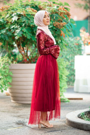 Cherry Red Sequin Tulle Long Sleeve Evening Gown-CLEARANCE