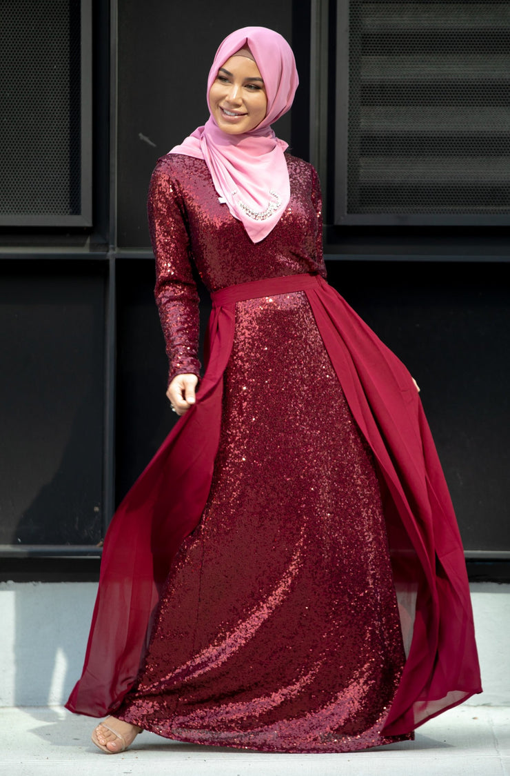 Maroon Sequin Gown With Detachable Skirt