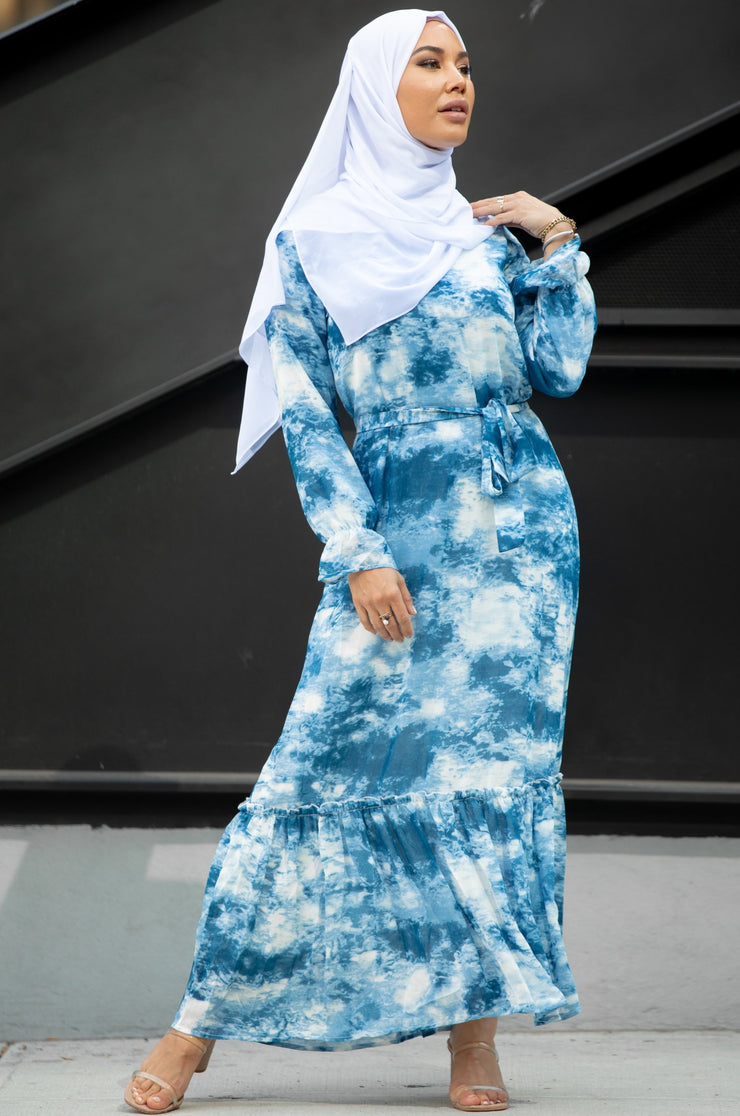 Sky Blue Tye Dye Long Sleeve Maxi Dress