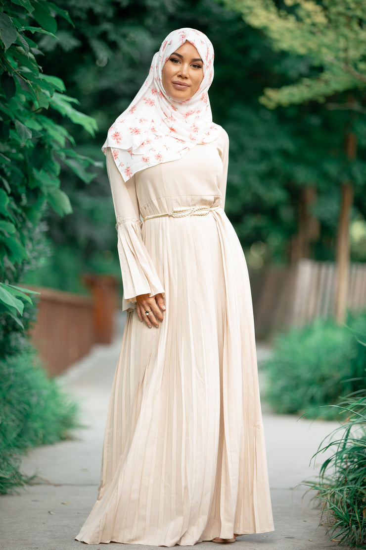 Pleated Long Sleeve Maxi Dress