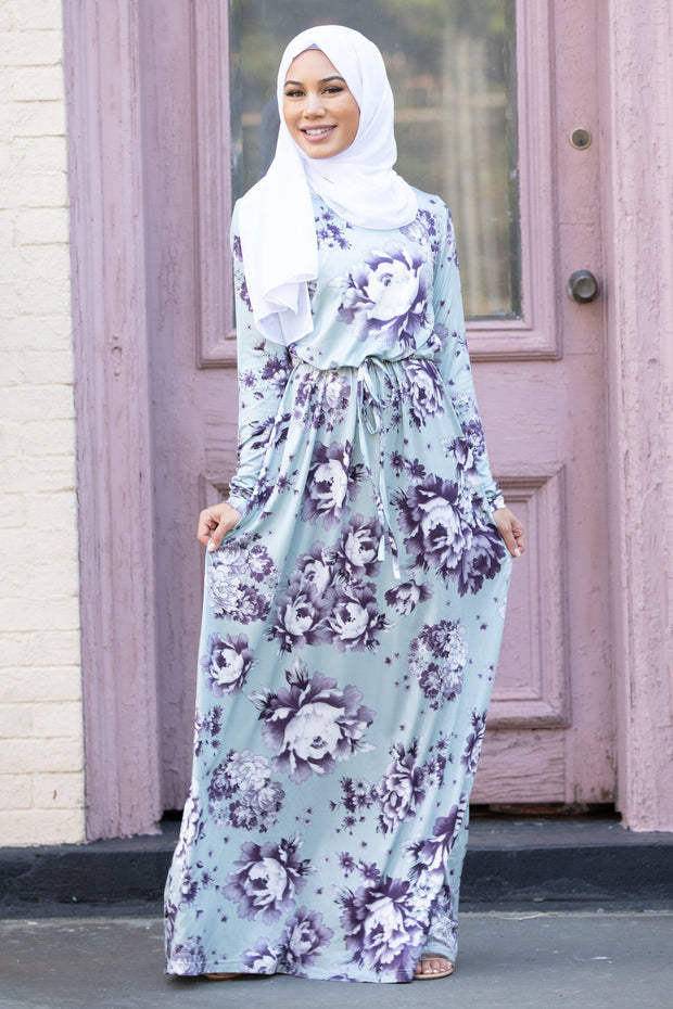Mint Floral Drawstring Long Sleeve Maxi Dress-CLEARANCE - Abaya, Hijabs, Jilbabs, on sale now at UrbanModesty.com