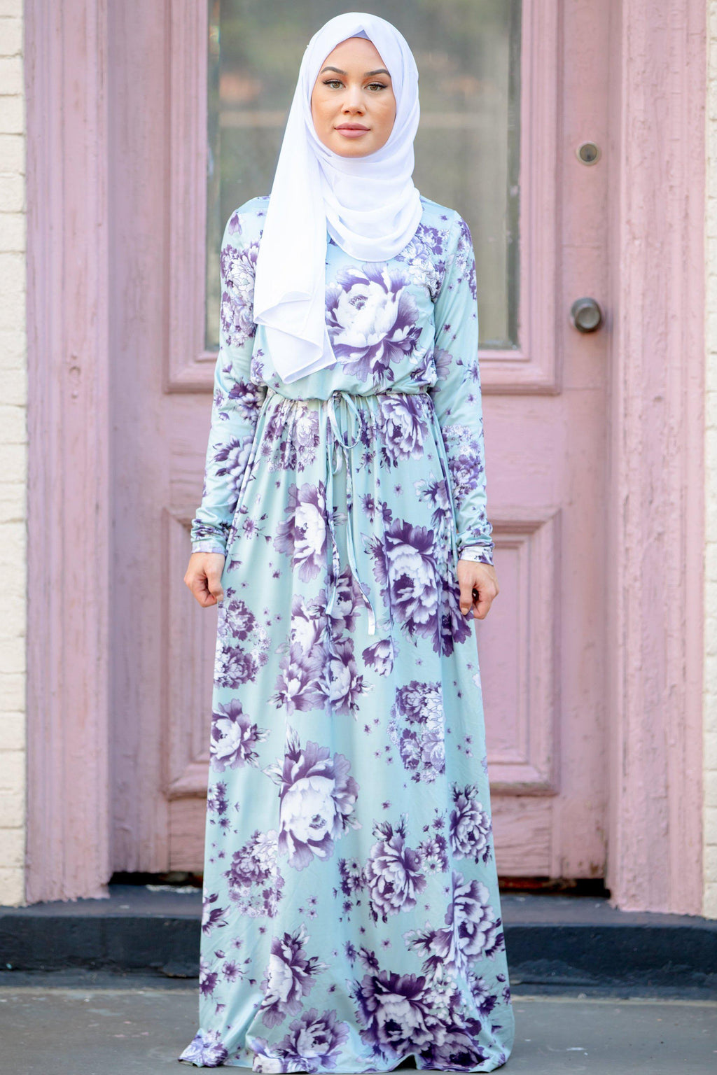 60d2922e7fc3 Mint Floral Drawstring Long Sleeve Maxi Dress-CLEARANCE - Abaya, Hijabs,  Jilbabs,