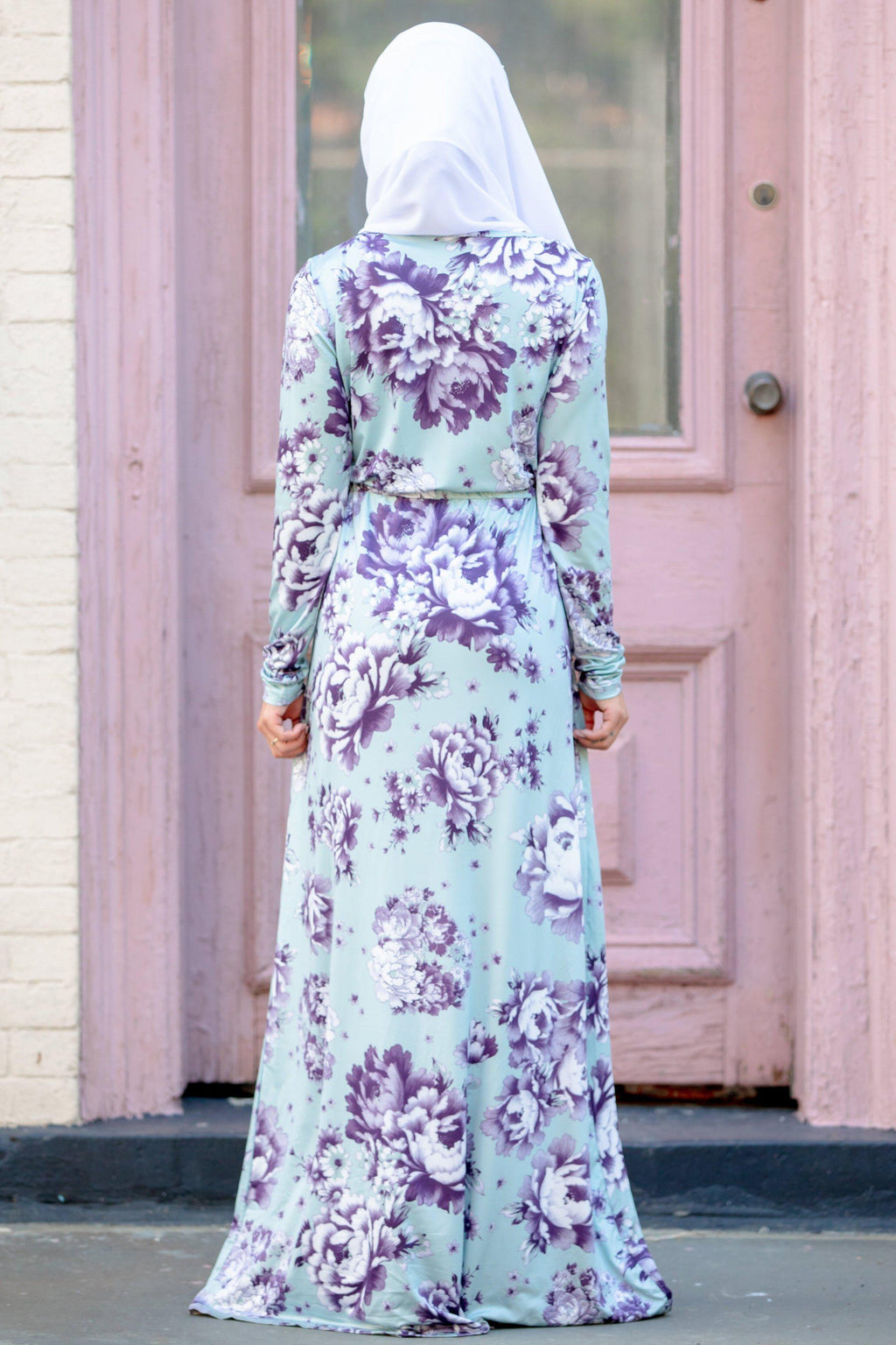 Mint Floral Drawstring Long Sleeve Maxi Dress - Abaya, Hijabs, Jilbabs, on sale now at UrbanModesty.com