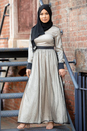 Noir Mesh Polka Dot Long Sleeve Maxi Dress-CLEARANCE