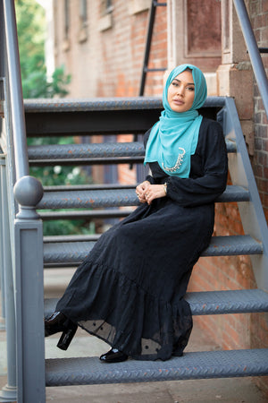 Grey Ivory Button Down Maxi Dress Non-Sheer Cardigan-Clearance - Abaya, Hijabs, Jilbabs, on sale now at UrbanModesty.com