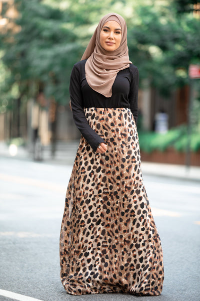 Wild Cat Two-Tone Maxi Dress With Sleeves