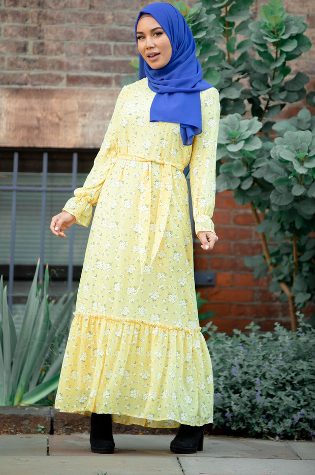 Sunshine Yellow Floral Long Sleeve Maxi Dress