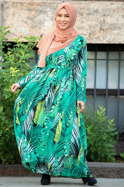 Green Tropics Long Sleeve Maxi Dress