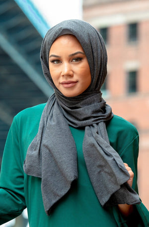 Dark Grey Jersey Hijab - Abaya, Hijabs, Jilbabs, on sale now at UrbanModesty.com