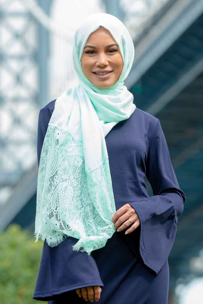 Mint Lace Trim Hijab - Abaya, Hijabs, Jilbabs, on sale now at UrbanModesty.com