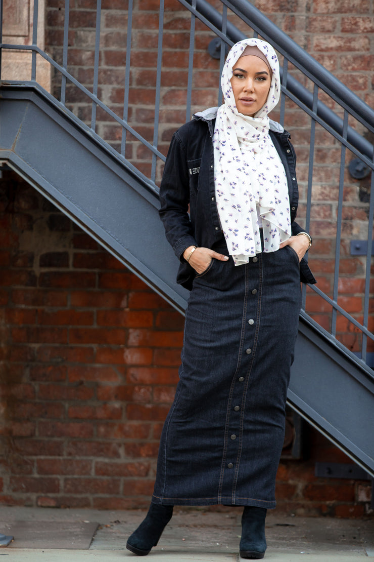 Dark Wash Denim Maxi Skirt