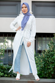 Striped Button Down Non Sheer Maxi Cardigan
