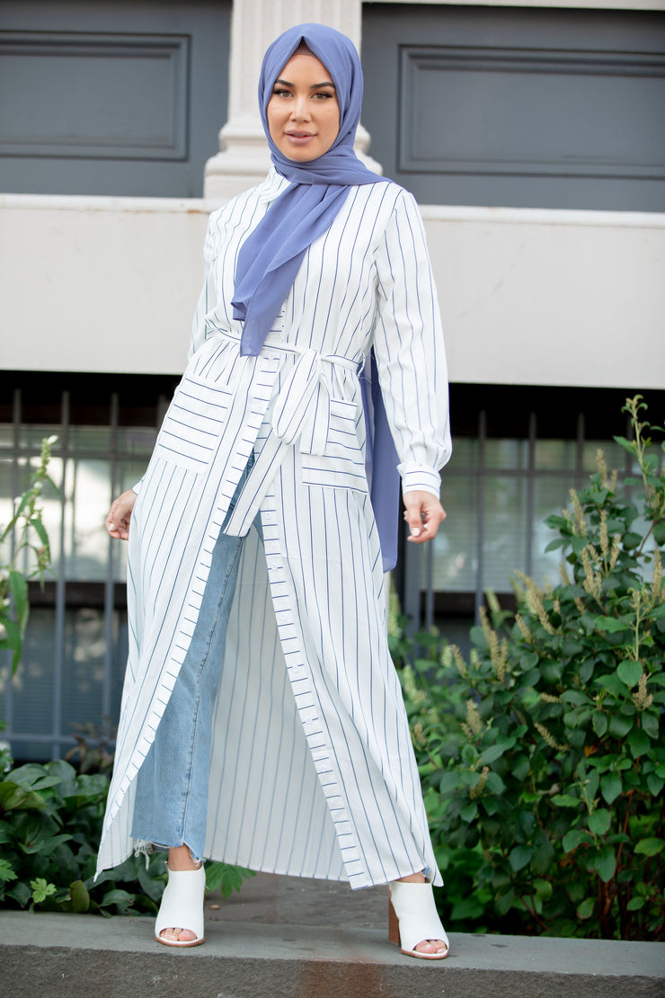 Striped Button Down Non-Sheer Maxi Cardigan-CLEARANCE