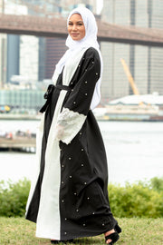 Black and White Pearl Open Front Abaya-CLEARANCE - Abaya, Hijabs, Jilbabs, on sale now at UrbanModesty.com