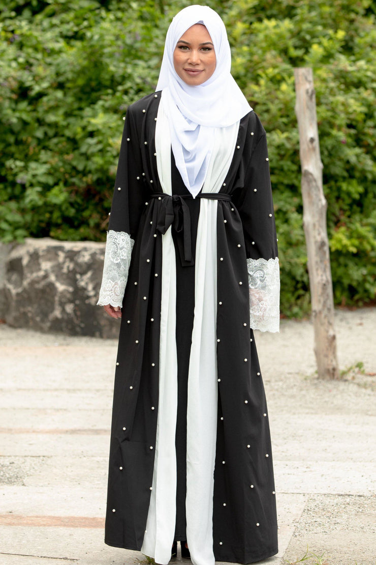 Black and White Pearl Open Front Abaya-CLEARANCE