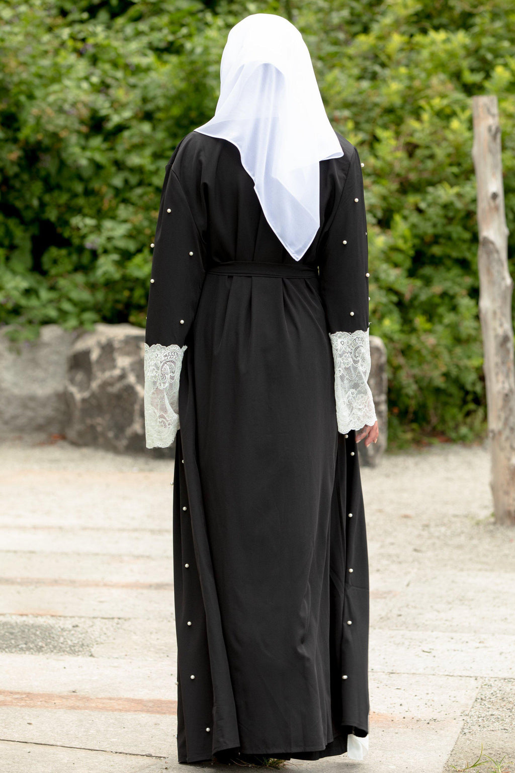 Black and White Pearl Open Front Abaya - Abaya, Hijabs, Jilbabs, on sale now at UrbanModesty.com