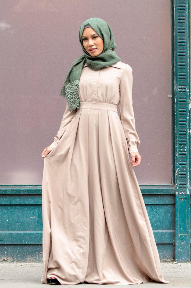 Taupe Lattice Abaya Maxi Dress-PREORDER - Abaya, Hijabs, Jilbabs, on sale now at UrbanModesty.com