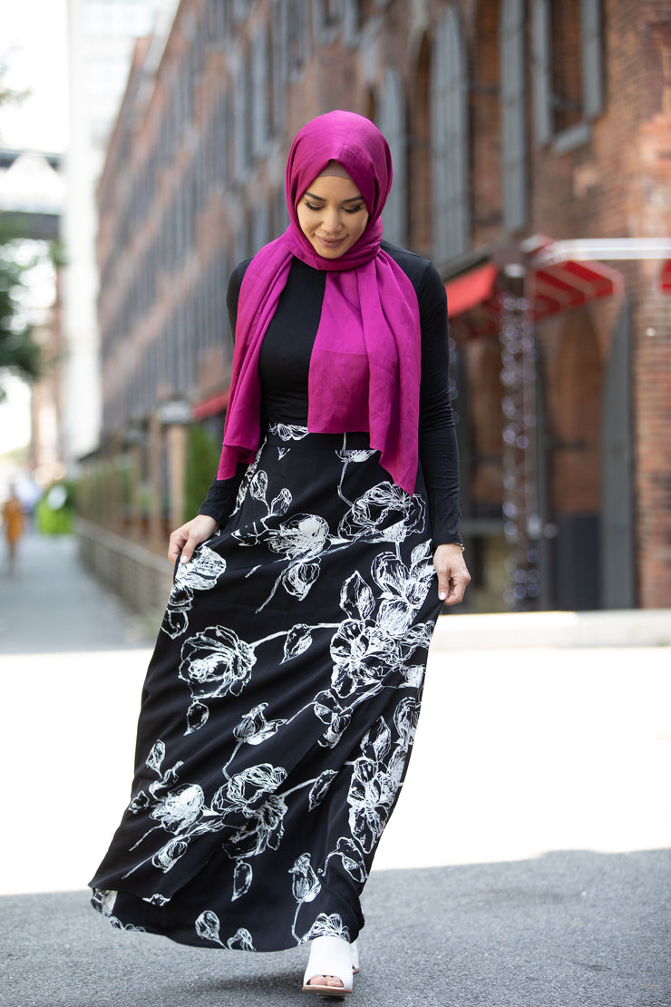 Floral Lines Black and White Maxi Skirt