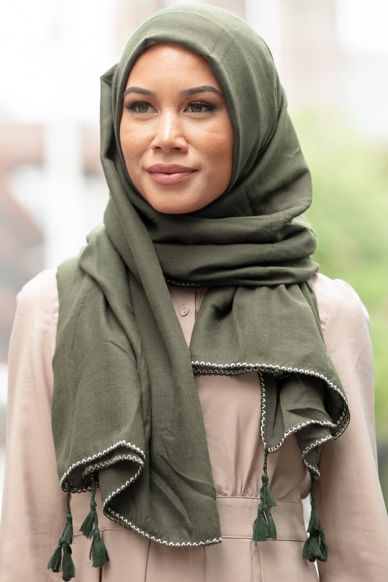 Green Tassel Cotton Hijab - Abaya, Hijabs, Jilbabs, on sale now at UrbanModesty.com