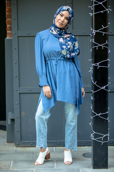 True Blue Drawstring Tunic Top