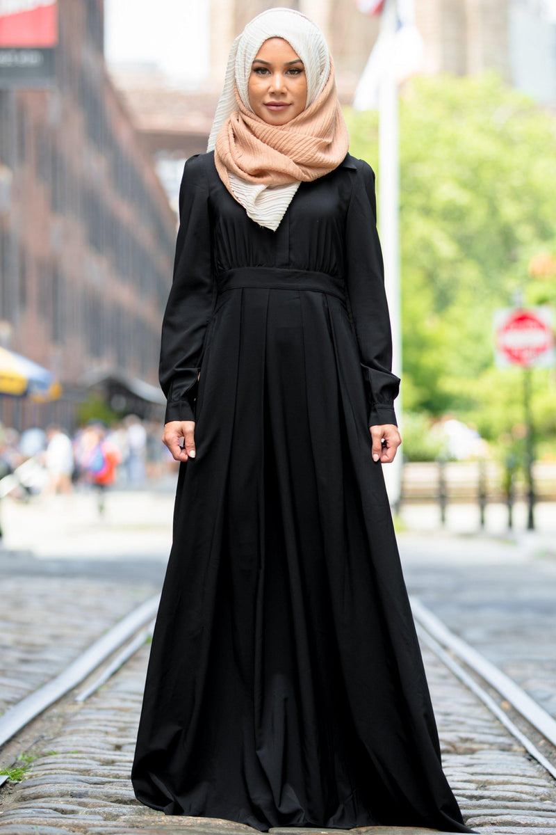 Black Lattice Abaya Maxi Dress-PREORDER - Abaya, Hijabs, Jilbabs, on sale now at UrbanModesty.com