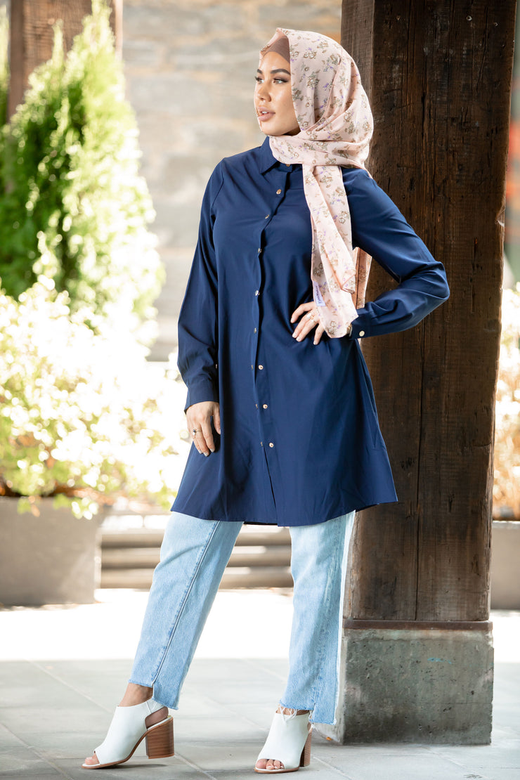 Navy Blue Button Down Tunic Top
