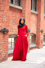 Scarlet Lattice Abaya Maxi Dress-Clearance - Abaya, Hijabs, Jilbabs, on sale now at UrbanModesty.com