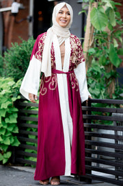 Royal in Red Embroidered Open Front Abaya