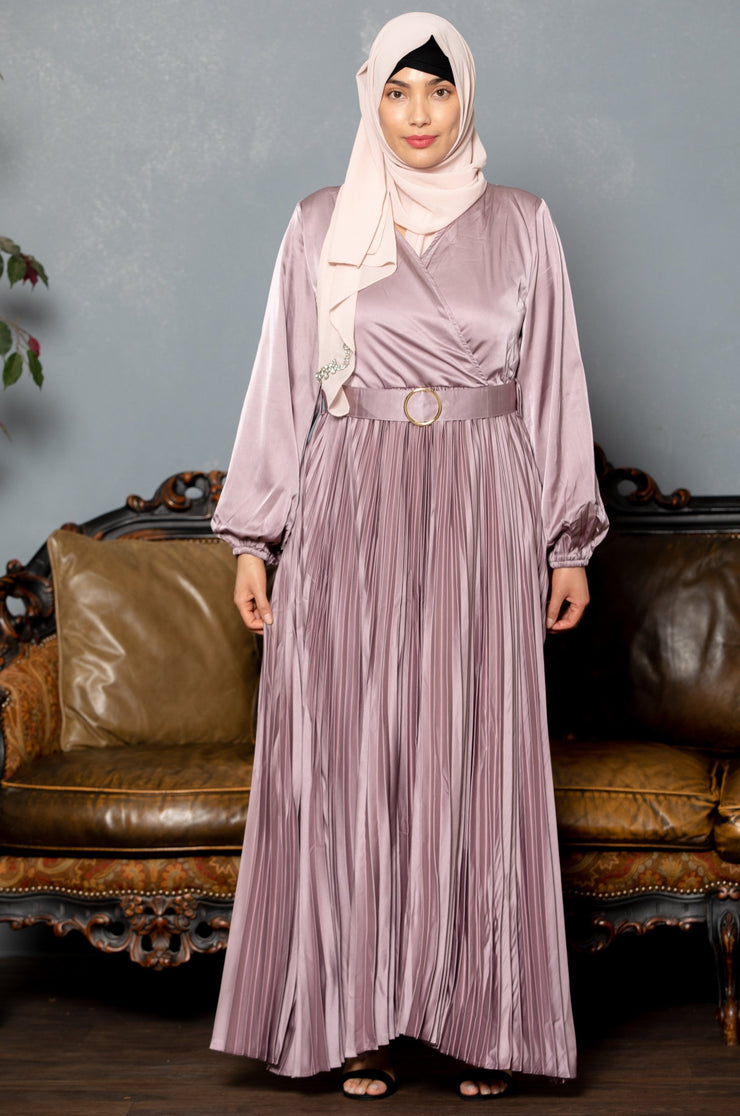 Dusty Mauve Satin Pleated Long Sleeve Maxi Dress