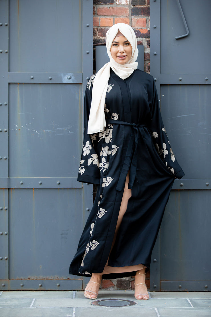 Alayiah Gold Floral Embroidery Open Front Abaya