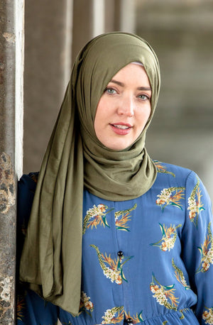Olive Green Jersey Hijab - Abaya, Hijabs, Jilbabs, on sale now at UrbanModesty.com