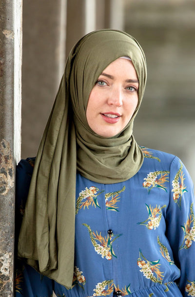 Olive Green Jersey Hijab-Clearance - Abaya, Hijabs, Jilbabs, on sale now at UrbanModesty.com