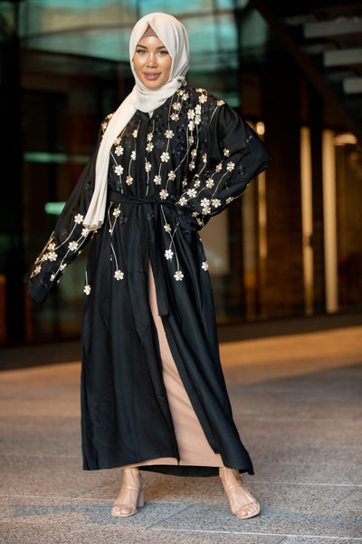 Golden Flowers Black Open Front Abaya