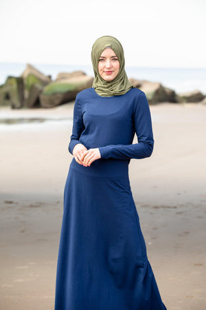 Navy Blue Cotton Long Sleeve Maxi Dress - Abaya, Hijabs, Jilbabs, on sale now at UrbanModesty.com