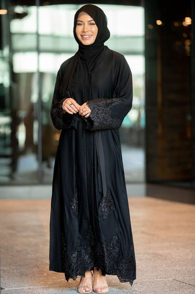 Nawal Black Lace and Pearls Open Front Abaya