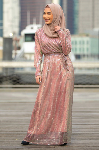 Dusty Pink Sequined Long Sleeve Evening Gown-CLEARANCE