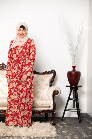 Spiced Floral Pleated Maxi Dress-CLEARANCE - Abaya, Hijabs, Jilbabs, on sale now at UrbanModesty.com