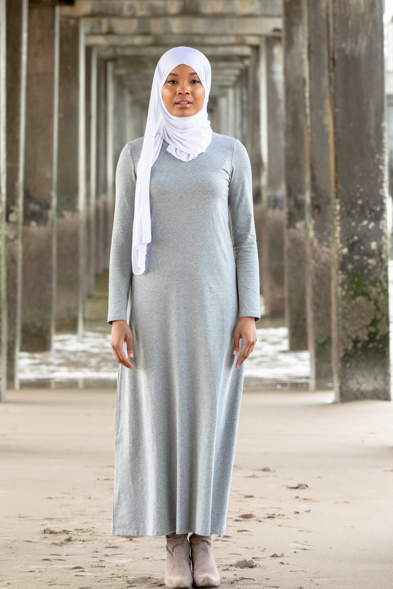 Gray Cotton Long Sleeve Maxi Dress-CLEARANCE - Abaya, Hijabs, Jilbabs, on sale now at UrbanModesty.com