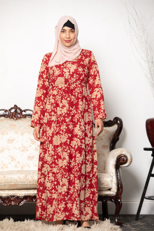 Abstract Patterned Long Sleeve Maxi Dress-Clearance - Abaya, Hijabs, Jilbabs, on sale now at UrbanModesty.com