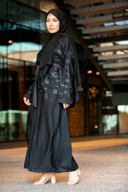 Black On Black Florals Open Front Abaya