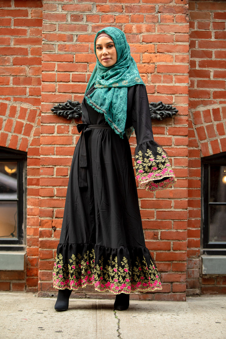 Black Floral Embroidered Bell Sleeve Open Abaya