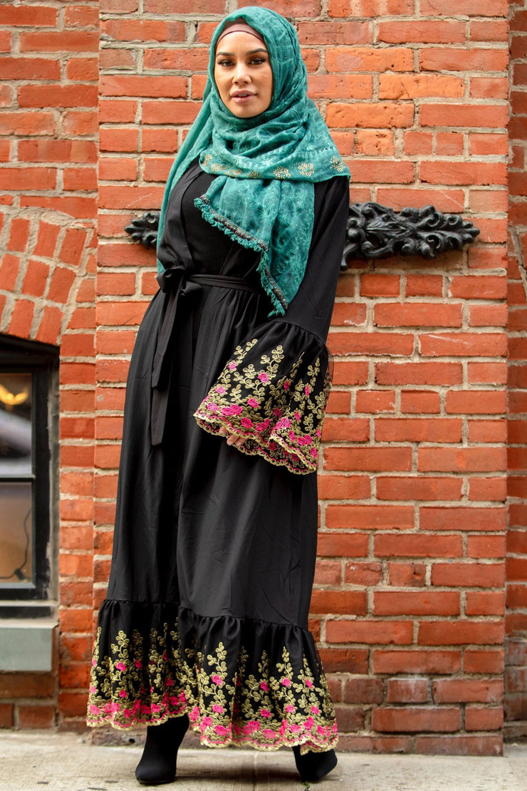 Black Floral Embroidered Bell Sleeve Open Abaya-Clearance