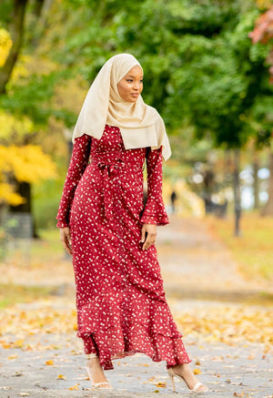 Maroon Daisy Button Down Maxi Dress-PREORDER - Abaya, Hijabs, Jilbabs, on sale now at UrbanModesty.com
