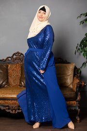Electric Blue Sequin Gown With Detachable Skirt