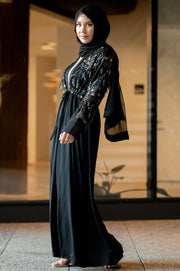Sequin Love Open Front Abaya