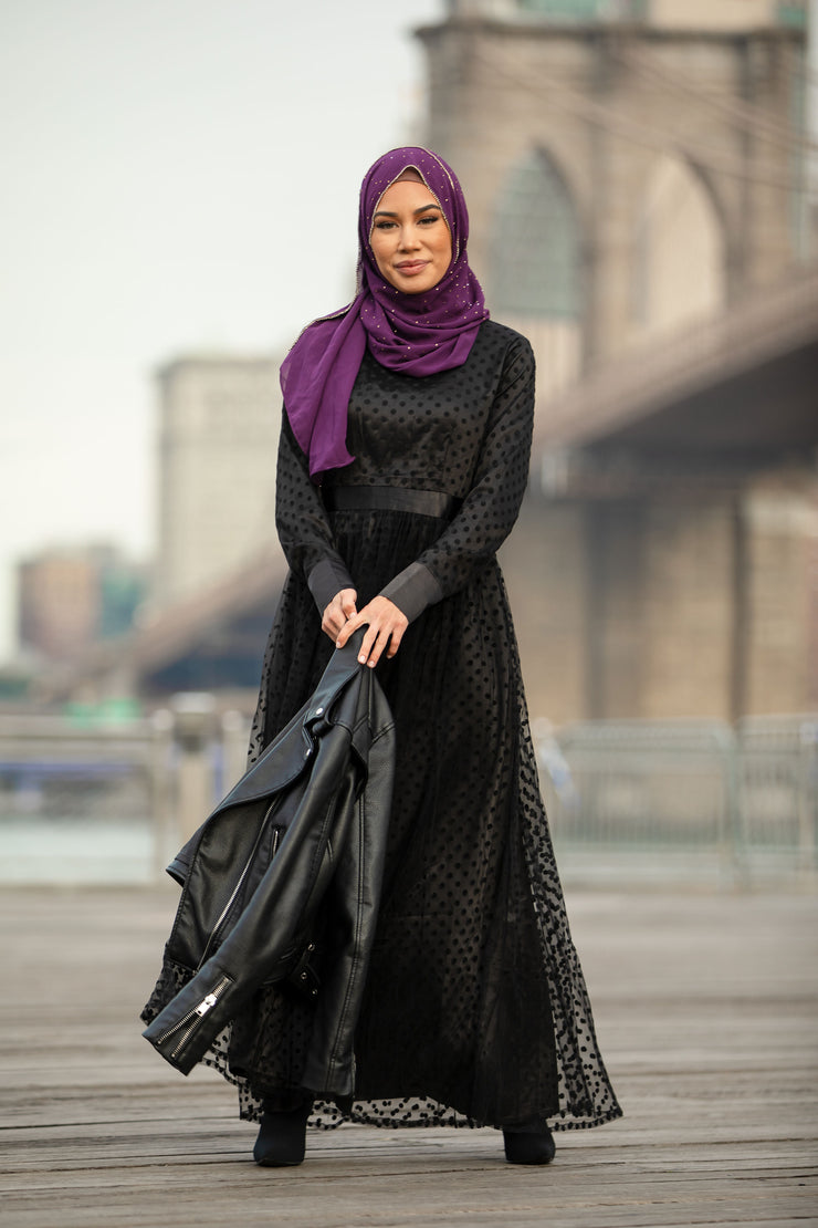 Black Mesh Polka Dot Long Sleeve Maxi Dress-PREORDER