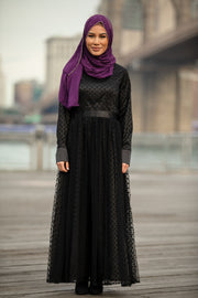 Black Mesh Polka Dot Long Sleeve Maxi Dress