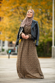 Leopard Print Drawstring Long Sleeve Maxi Dress