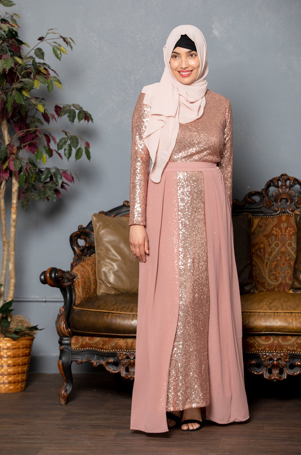 Rose Gold Sequin Gown With Detachable Skirt